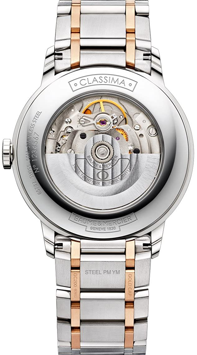 Baume Mercier Classima Mens Automatic Watch – 40mm Analog Silver Face with Second Hand, Date and Sapphire Crystal Two Tone Swiss Made Watch – Stainless Steel Plated Rose Gold Watches For Men 10217