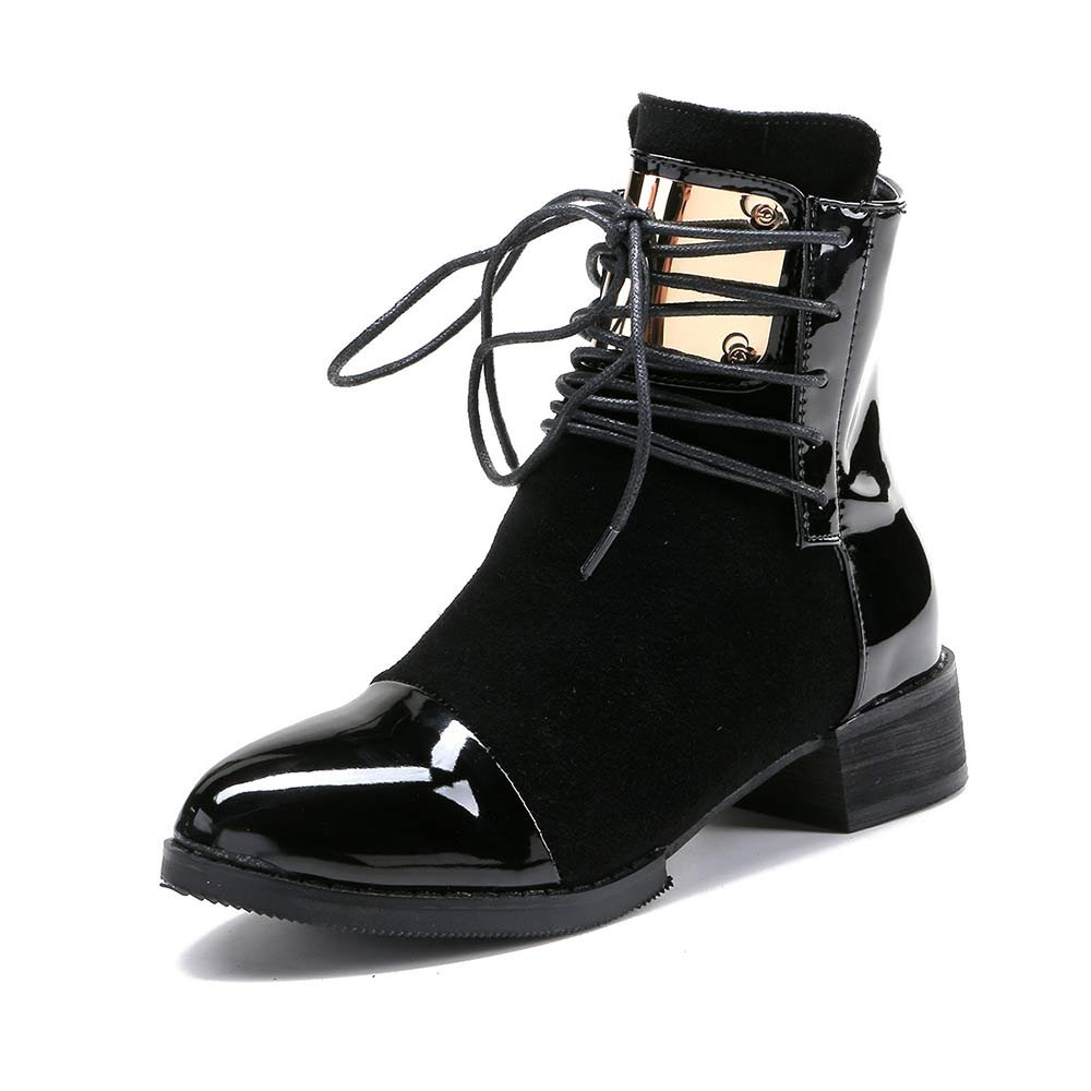 LIURUIJIA Women Ankle Boots Casual Patent Leather Flat Martin Short Boots Black Red Wine GI-BT-GC213-2