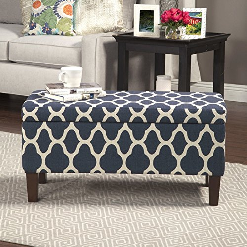 HomePop Large Decorative Storage Ottoman, Navy (Navy Blue Storage Ottoman)
