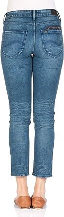 Lee damskie dżinsy Elly Zip - Slim Fit - niebieskie - Arizona - wąski 28W / 33L: Odzież
