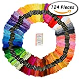 Image of Paxcoo 124 Skeins Embroidery Floss Cross Stitch Thread with Needles