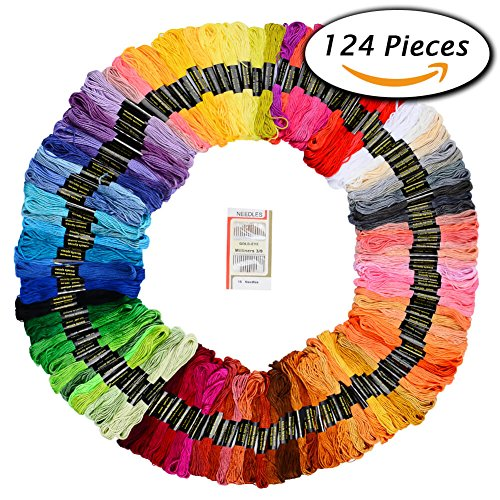 Paxcoo 124 Skeins Embroidery Floss Cross Stitch Thread with Needles Image