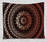Mandala Decor Tapestry by Ambesonne, Ancient Enclosing Magic Circle Middle Eastern Egyptian Folk Culture Pattern, Wall Hanging for Bedroom Living Room Dorm, 60 X 40 Inches, Brown Orange