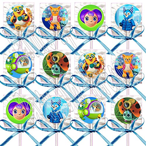 Disney Jr. SPECIAL AGENT OSO Party Favors Supplies Decorations Lollipops w/ Turquoise Bow Ribbons Party Favors -12 pcs - Special Agent Oso Party Supplies