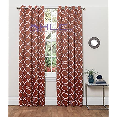 ME Lattice Print Thermal Insulated Blackout Window Curtain Panels Pair Chrome Grommet Top Rust