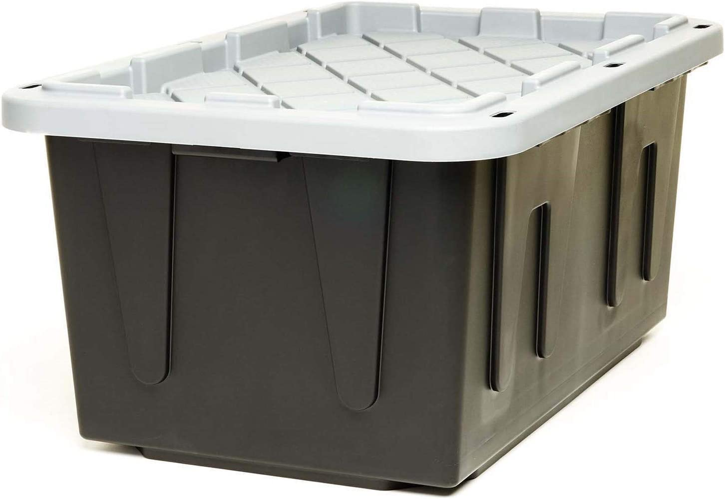 ECOstorage Box Tough Recycled Plastic Storage Container, 27 Gallon, Black, 2 Pack