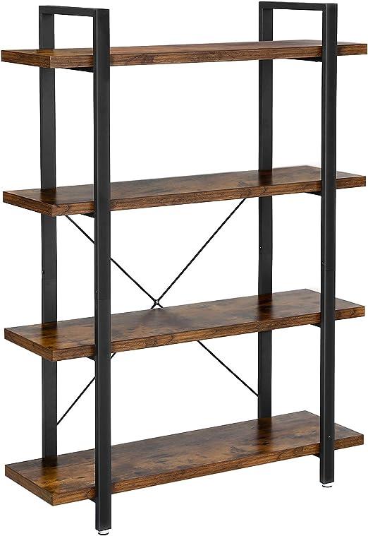Vasagle Bücherregal Stabiles Standregal Mit 4 Regalebenen Wohnzimmerregal Im Industrie Design Einfacher Aufbau Wohnzimmer Schlafzimmer Büro