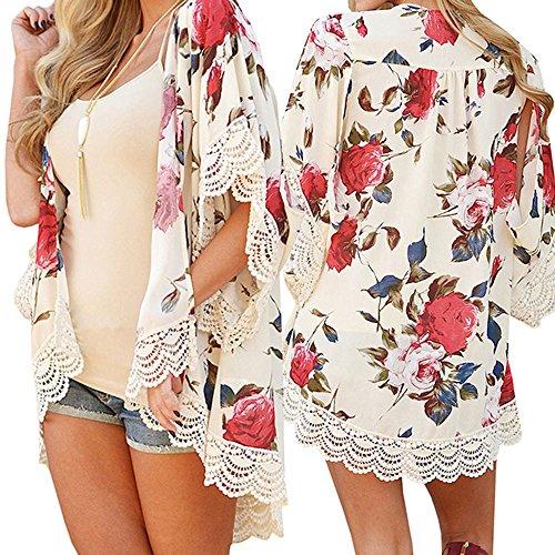 Liraly Womens Coats,Clearance Sale! 2018 New Women Fashion Summer Kimono Cardigan Plus Size Shawl Blouses (US-10 /CN-XL, Beige)