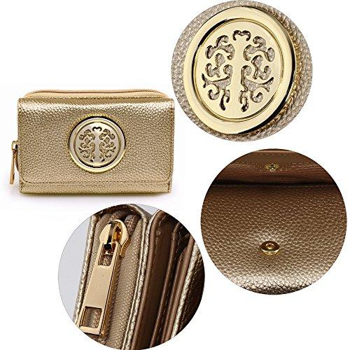 Las mujeres Monederos señoras moneda bolsos funda de piel sintética de alta calidad las niñas B - GOLD