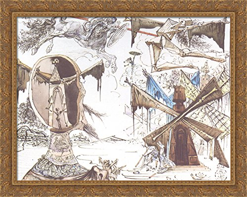 Don Quixote and the Windmills 36x28 Large Gold Ornate Wood Framed Canvas Art by Salvador Dali