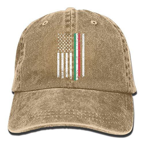 QS3F2S2D1G Men's Or Women's Italian American Thin Line Flag Denim Fabric Baseball Hat Adjustable Hip Hop Caps Natural ()