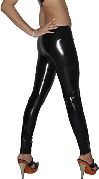Womens Black Latex//Rubber Leggings