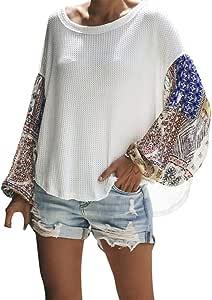 Trolimons Womens Plaid Printed Blouse Striped Splicing Top Winter Fashion Simple Sport