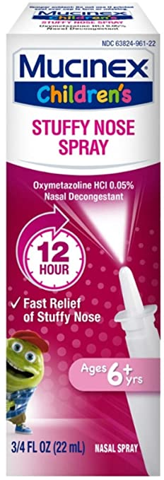 Mucinex Children's Nasal Decongestant Spray for 12 Hour Stuffy Nose Relief, with Oxymetazoline Hcl .05%, .75 oz