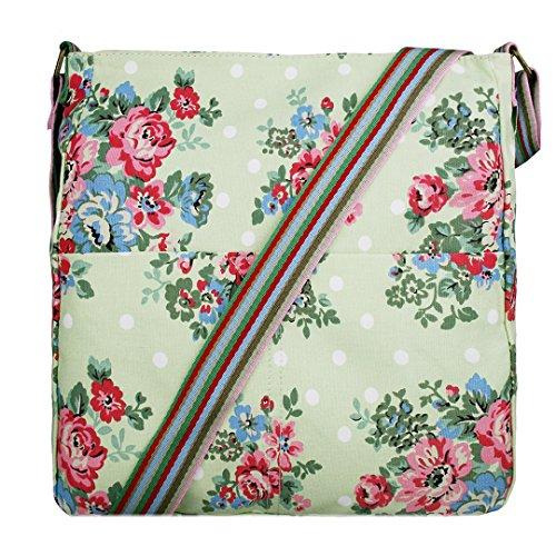 Girl Flower Dot - Miss Lulu Women Messenger Bag School Bags for Girls Flower Polka Dots Canvas Crossbody Shoulder Satchel (1104F GN)