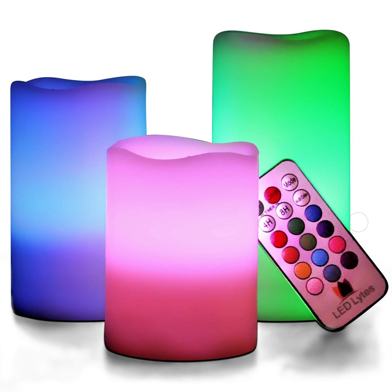 LED Lytes Flickering Flameless Candles Battery Operated Candles Vanilla Scented Set of 3 Round Ivory Wax Flickering Multi Colored Flame auto Off Timer Remote Control Weddings Gifts