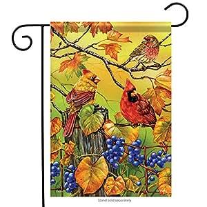 """Grapevine Gathering Garden Flag Cardinal Fall 13"""" x 18"""" Carson"""