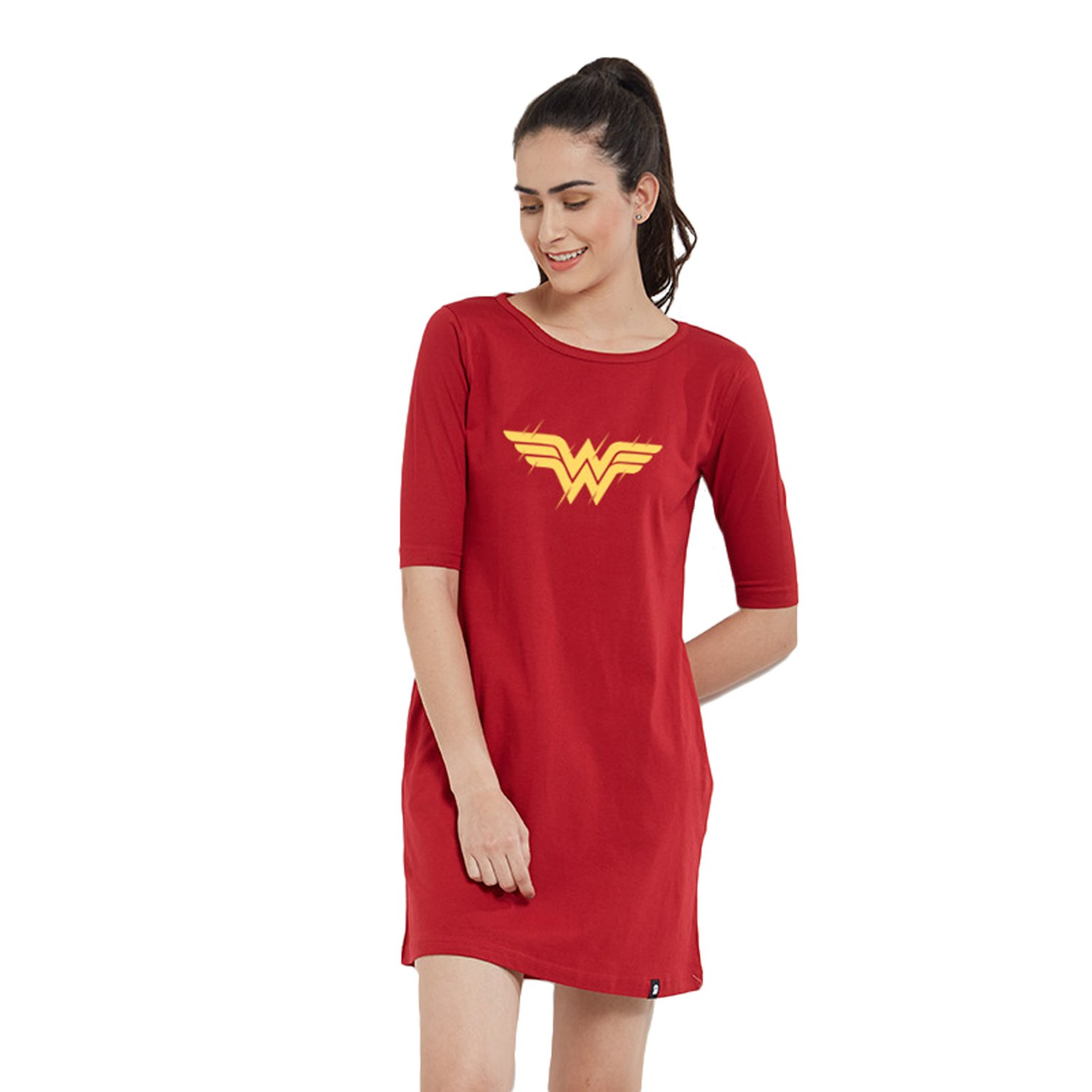 4b53a8f978 The Souled Store Wonder Woman  Logo T-Shirt Dress Graphic Printed Black  Cotton Dress for Women and Girls  Amazon.in  Clothing   Accessories