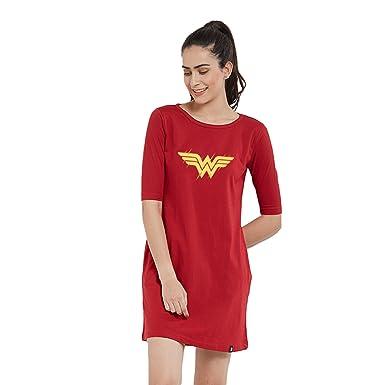 8da2580bf The Souled Store Women & Girl's Cotton Wonder Women T-Shirt Dress (Wonder  Woman