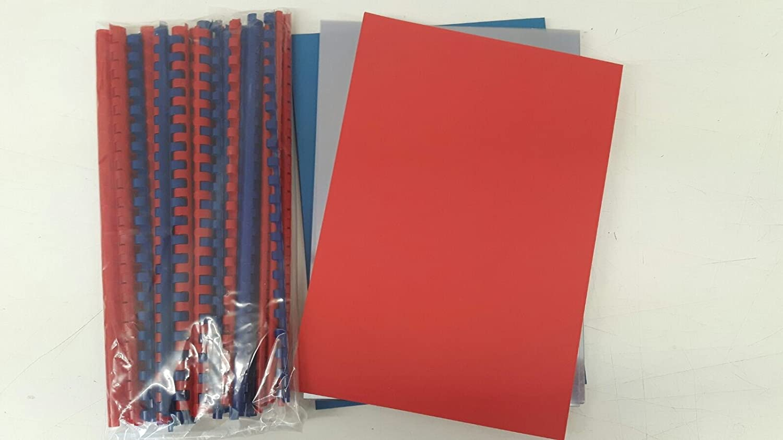 Starterset für Plastikbindegerät - 120 Teile - Binderücken, Lederkarton, Klarsichtfolie in blau und rot (DIN A4) Markenlos