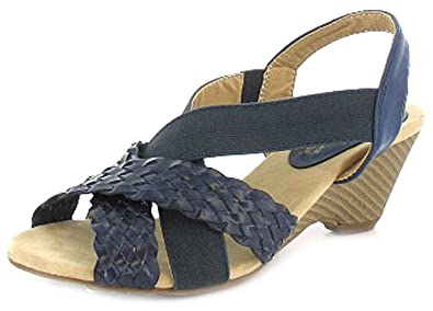 d2155b97b6b New Womens Ladies Navy Comfort Plus Wide Fitting Sling Back Shoes - Navy -  UK