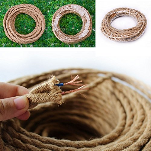 (32.8 Ft Hemp Rope Wire Home Decor Rope Light Twisted 18/2 Cloth Natural Fabric Electrical Cord,Hemp Rope Covered Light Wire,Vintage Light Cord)