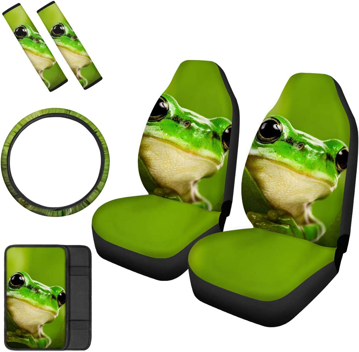 Console Armrest Deer 2pcs Front Bucket Car Seat Covers Steering Wheels and Seat Belt Pads Set for Car SUV Truck /& Van
