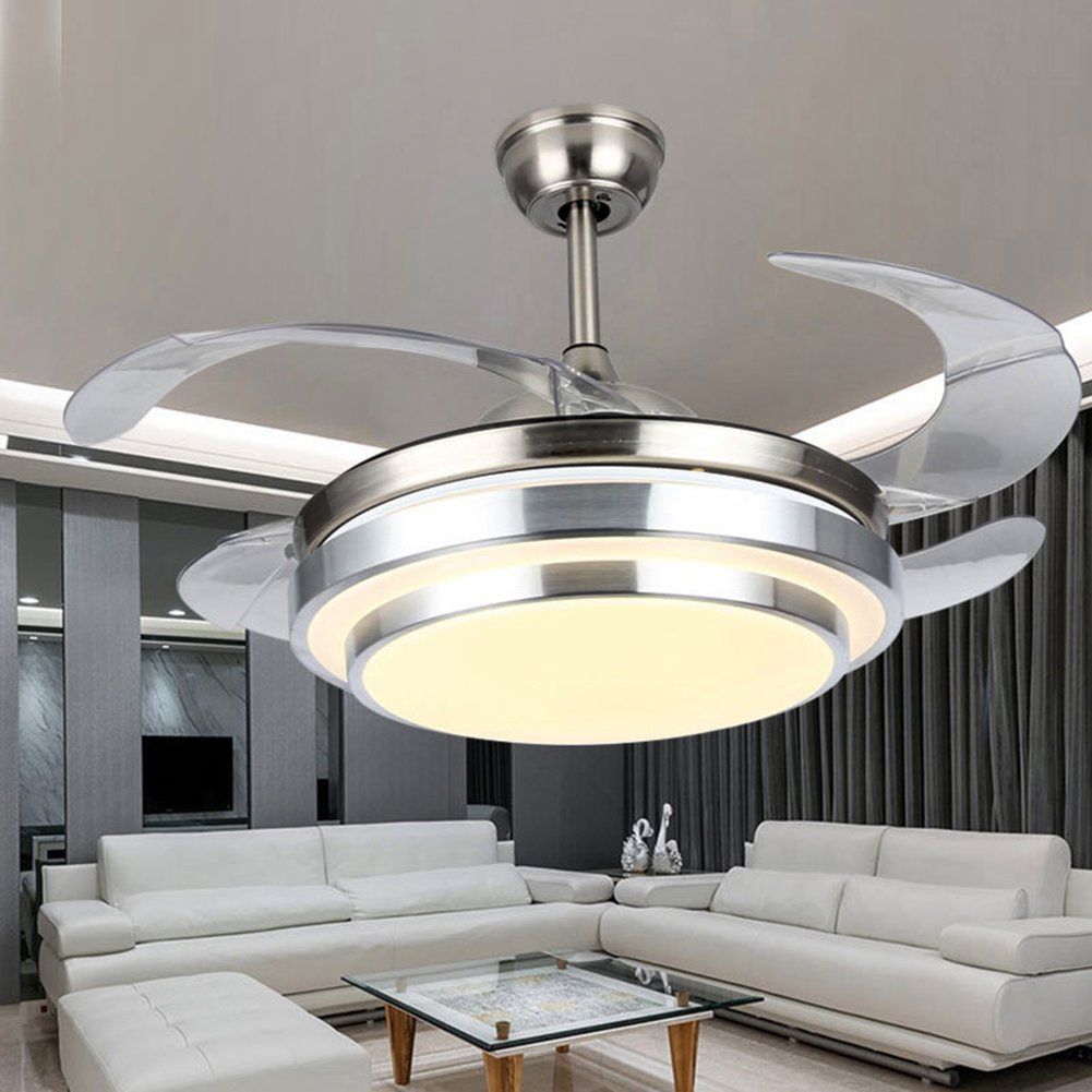 LED invisible ceiling fan ceiling fan with remote control for restaurant fan chandelier restaurant, study, living room, bed room (42 inches,With remote control)