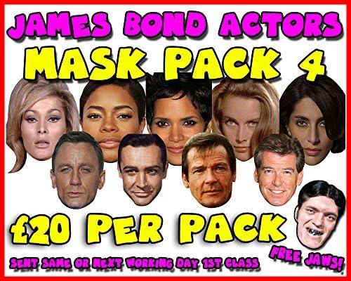 James Bond Actors Mask Pack 4 Novelty Celebrity Face Mask Party Mask Stag Mask