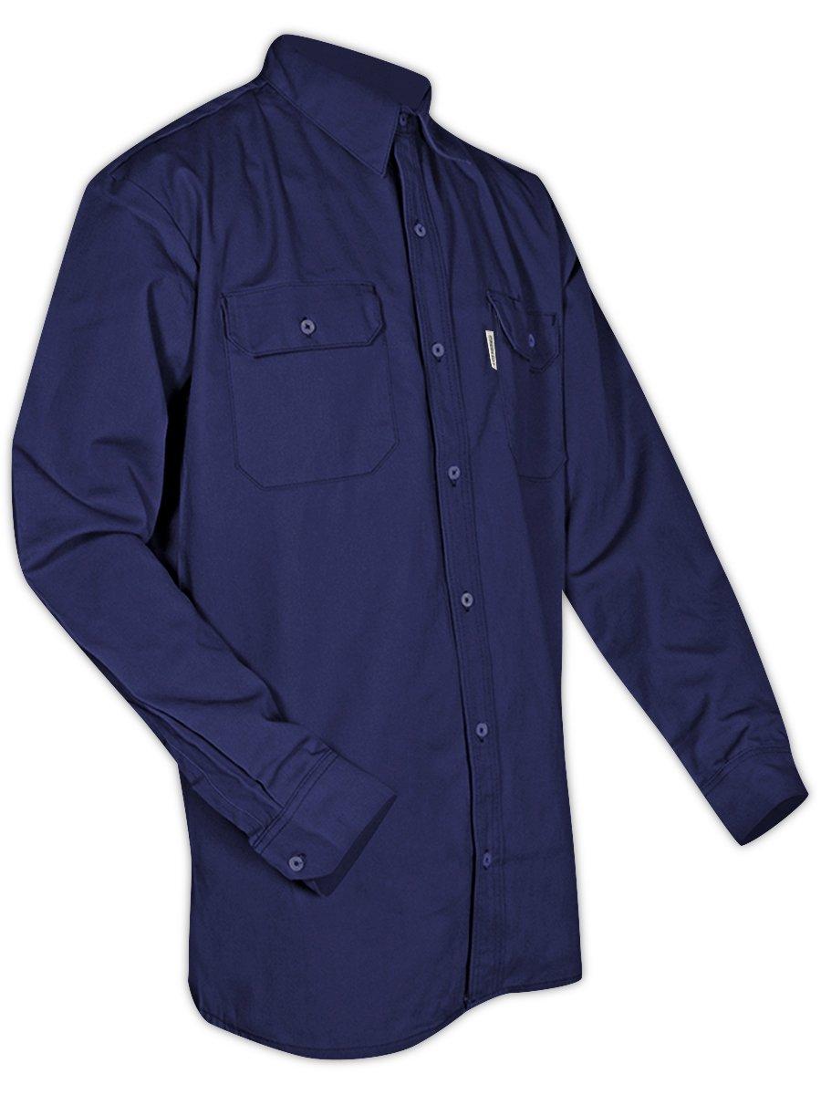 Magid Glove & Safety SBN70DHS SBK70DH/SBN70DH Dual-Hazard 7.0 oz. FR 88/12 Work Shirts, Navy, Small, Flame Resistant Cotton Blend