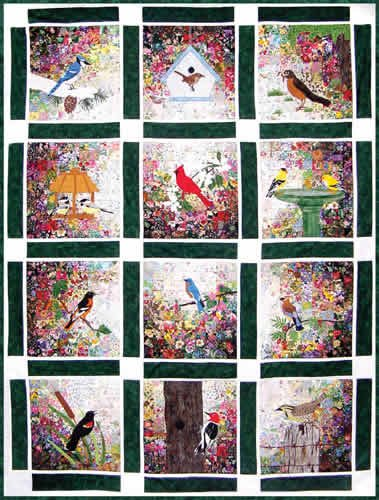 Whims Watercolor Quilt Kits Rachel's Bird Garden Quilting Supplies