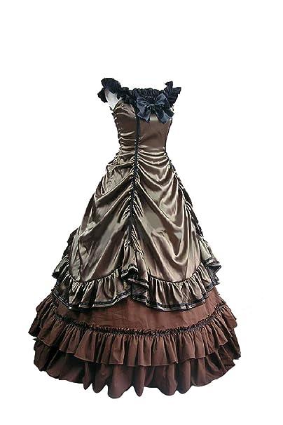 lancoszp Vestido Largo Lolita Princess para Mujer Traje Plisado con Gradas Victoriana Medieval Gotico: Amazon.es: Ropa y accesorios