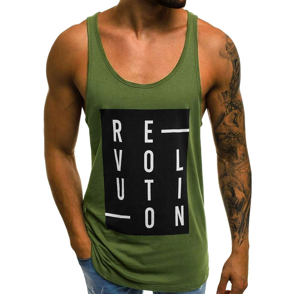 Forthery Men Gym Tank Tops Workout Fitness Muscle Letter Printed Sleeveless Vest(Green,US Size S = Tag M)