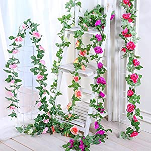 Greentime 2 Pcs Fake Flowers Vine 7.8 FT 16 Heads Silk Artificial Roses Garland Plant for Wreath Wedding Party Home Garden Wall Decoration, Cream 5