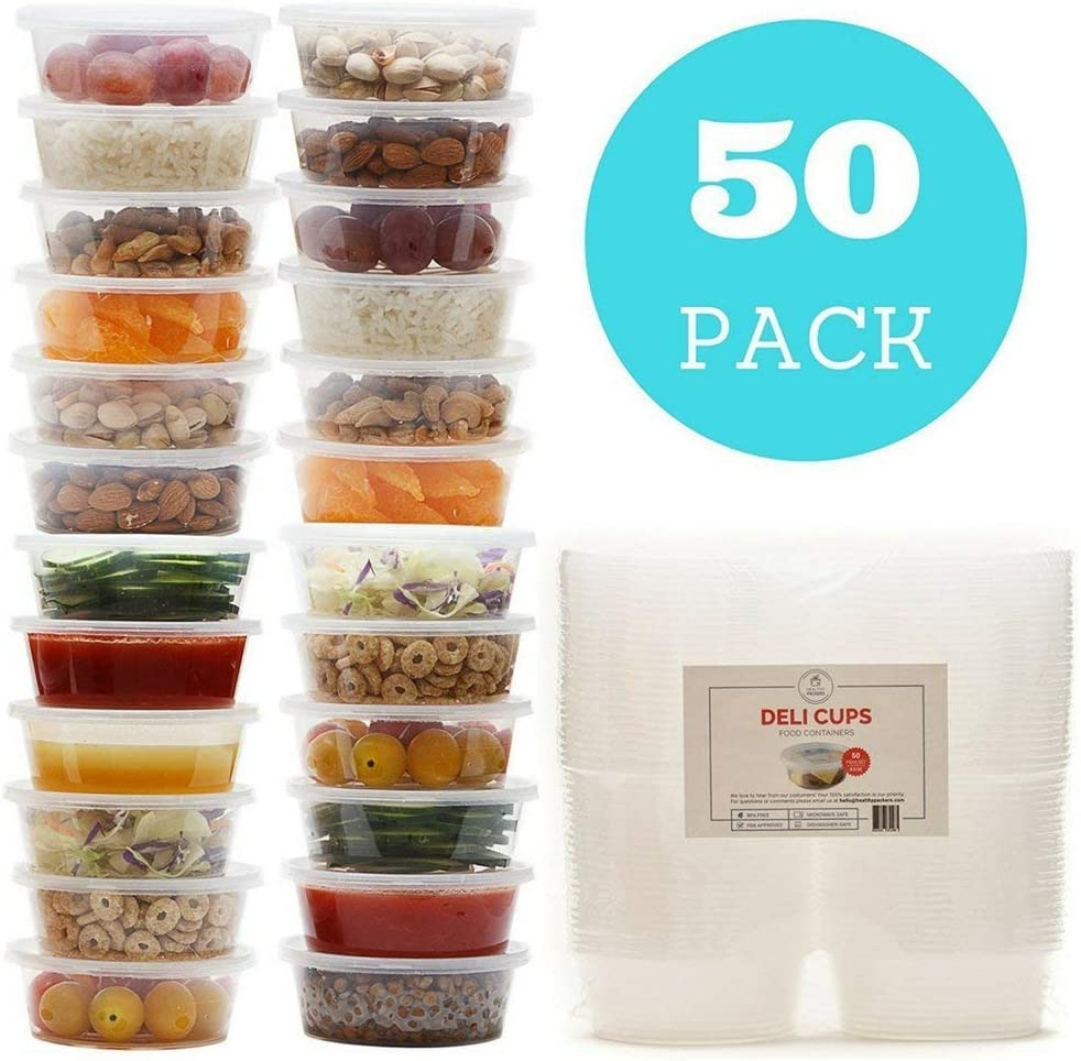 8 oz Plastic Food Storage Containers with Lids (50 sets) - Restaurant Deli Cups/Great for Slime, Party Supplies, Meal Prep and Portion Control - Leakproof and Microwave Safe - BPA Free
