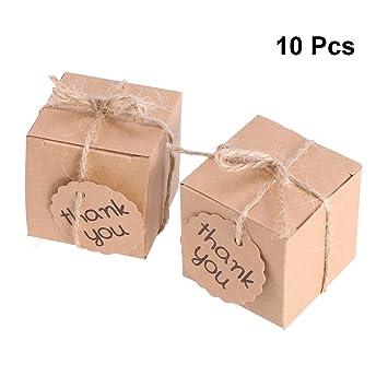 NUOBESTY Cajas de Dulces de Papel Kraft con Tarjeta de Agradecimiento Empaque de Regalo Invitaciones Comidas Cajas Artículos para Fiestas: Amazon.es: Hogar