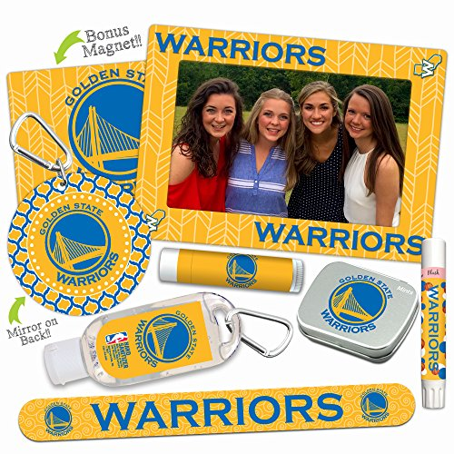 (Golden State Warriors Deluxe Variety Set with Nail File, Mint Tin, Mini Mirror, Magnet Frame, Lip Shimmer, Lip Balm, Sanitizer. NBA Basketball Gifts and Gear for Women)