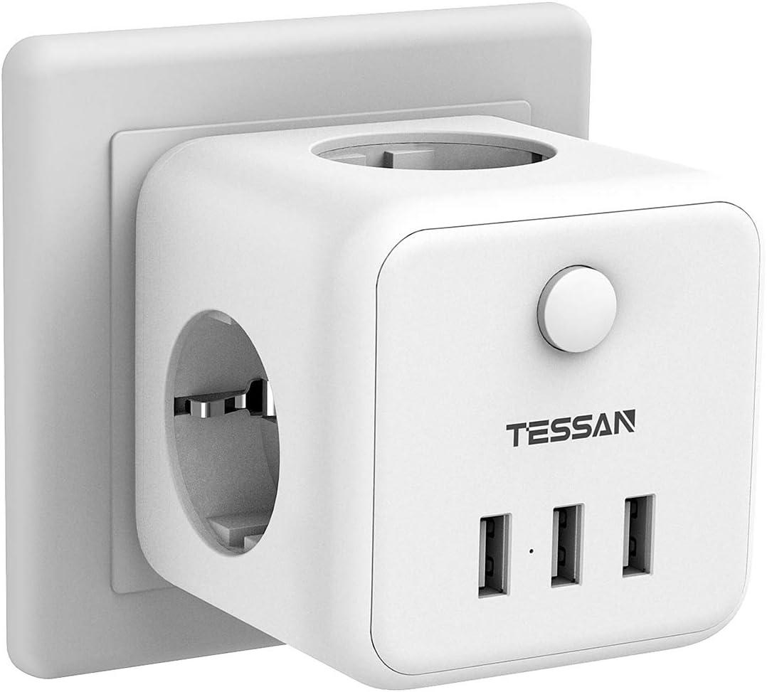 TESSAN Prise USB Multiple Multiprise Murale Cube 3 Prises avec 3 USB Secteur Multiprise Electrique Murale USB Chargeur pour Domicile Blanc 6 en 1 Bloc Multiprises USB avec Interrupteur Bureau