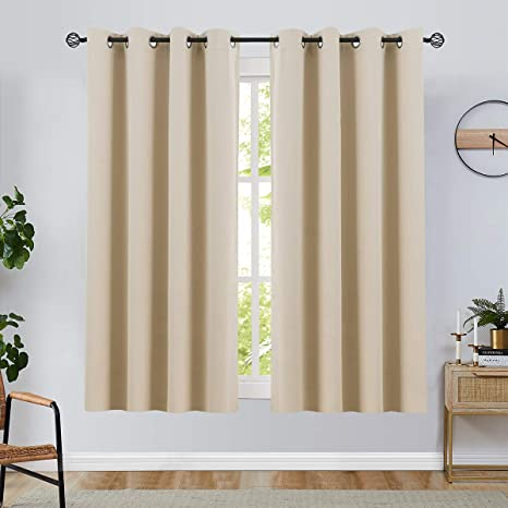 Amazon Com Room Darkening Window Curtains For Bedroom Triple Weave Moderate Blackout Curtains For Living Room 63 Inches Long Light Reducing Window Treatment Set Beige 2 Panels Kitchen Dining