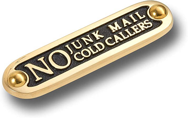 Salesmen or Religious Groups ukgiftstoreonline No Junk Mail Cold Callers Engraved Sign
