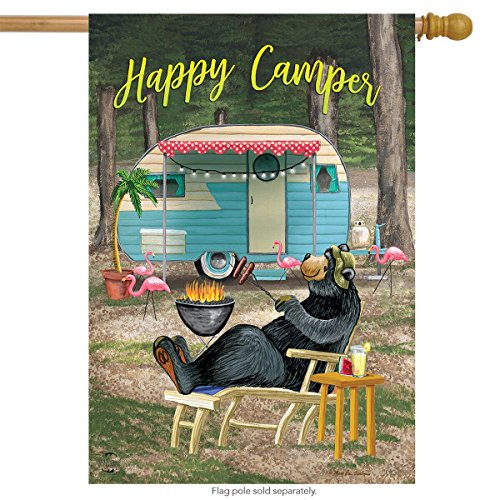 Briarwood Lane Happy Camper Bear Summer House Flag Outdoors Humor 28