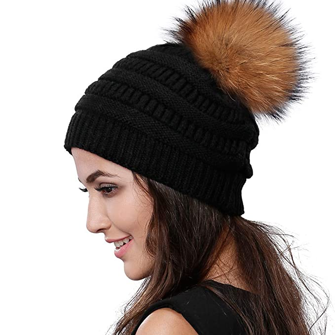 aaeab995d1a6dc Womens Winter Knit Beanie Hat Slouchy Skull Cap Real Fur Pom Pom Hats Cap  For Girls Double Layer Warm FURTALK Original (Black Raccoon) at Amazon  Women's ...