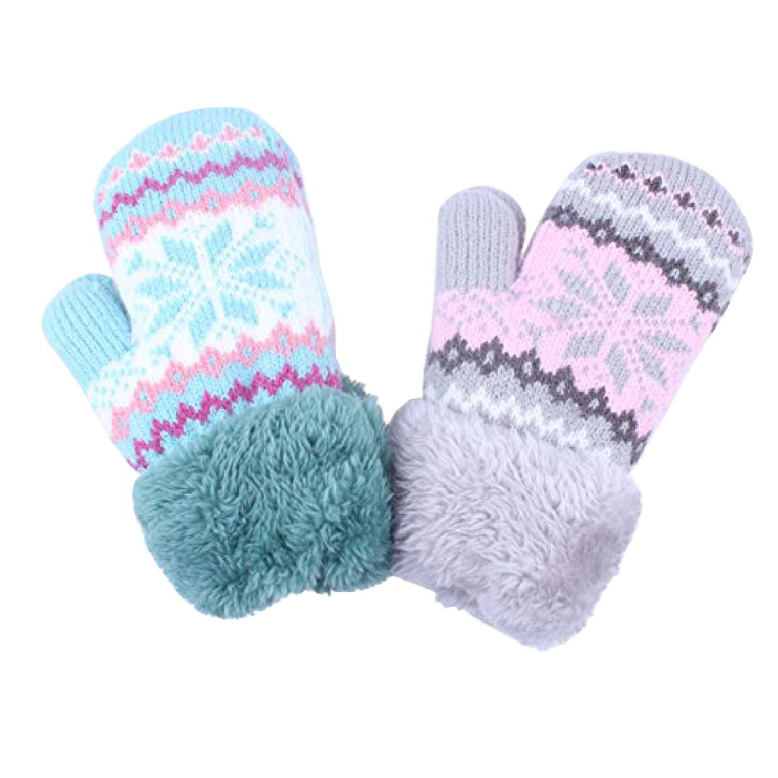2Pairs Toddler Baby Girl Warm Winter Mittens Gloves With Thicken Sherpa Lined Lining kimmyku KM914-3
