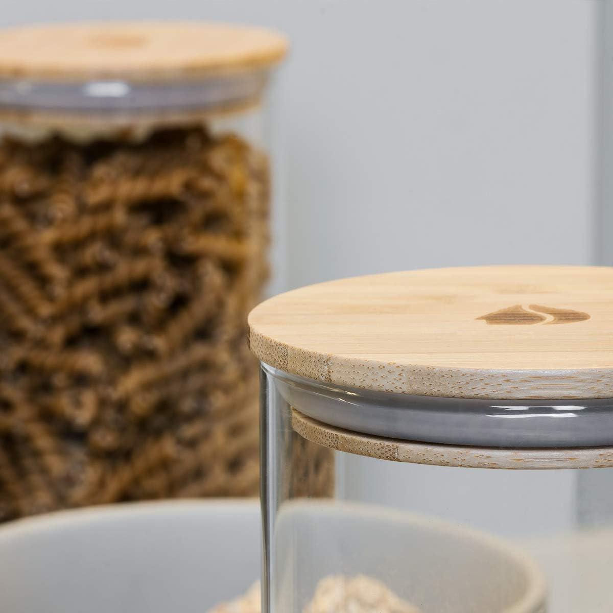 1L Navaris Set de 3 Botes de Cristal con Tapa de bamb/ú frascos para la Cocina Tarros para Alimentos como caf/é Pasta arroz harina Cereales