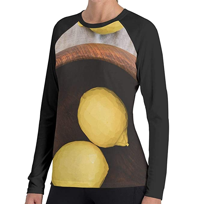 ea3bc2d5 Image Unavailable. Image not available for. Color: Women Yellow Lemon Long  Sleeve Baseball Tee Shirts