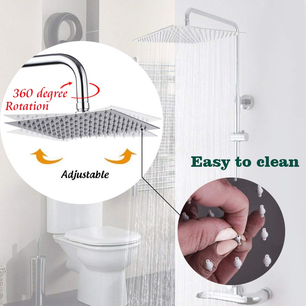 12 Inch Rain Showerhead, Large Square Rainfall & High Pressure Stainless Steel Adjustable Bath Showerhead, Ultra Thin Waterfall Full Body Coverage with Silicone Nozzle