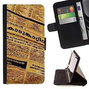 Momo Phone Case / Flip Funda de Cuero Case Cover - Periódico de la lengua tailandesa Cartas Arte del texto - Motorola Moto E ( 2nd Generation )