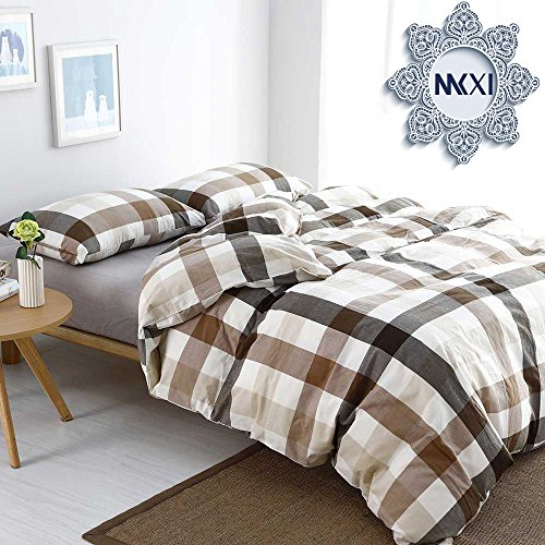 MKXI Cotton Queen Size Bed Duvet Cover Geometric Pattern Coffee White Grid Plaid Bedding Sets (Brown Plaid Comforter)