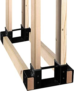 SnugNiture Firewood Log Storage Rack Bracket Kit with Screws, Fireplace Wood Storage Holder. Powder Coated Heavy Duty Steel and Adjustable to Any Length for Fitting Indoor/Outdoor, Black