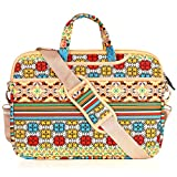 JBonest 15.6 Inch Bohemian Colourfull Geometric Flower Pattern Laptop Handbag Canvas Fabric Briefcase Sleeve Cover Case for Macbook Air Pro Dell HP Lenovo Sony Toshiba Ausa Acer Samsung